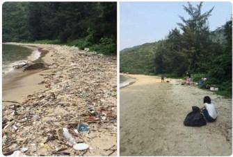 Dans le cadre du #Trashtag, les gens ramassent les ordures et partagent des photos avant et après la collecte