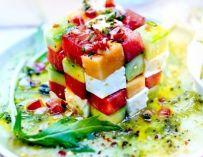 Salade d'avocat, melon et pastèque