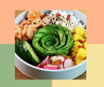 Le poke bowl et sa rose d'avocat