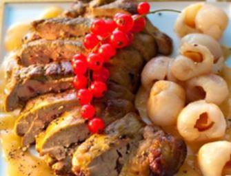 Foie gras aux épices et litchis