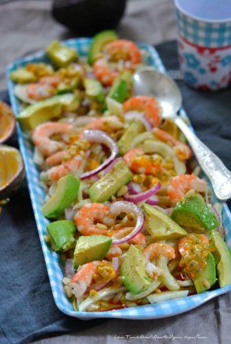 Salade fenouil, avocat, crevettes, oignons rouges, passion