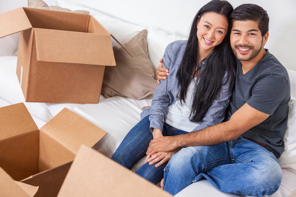 couple with empty boxes