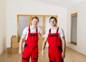 movers in red overalls