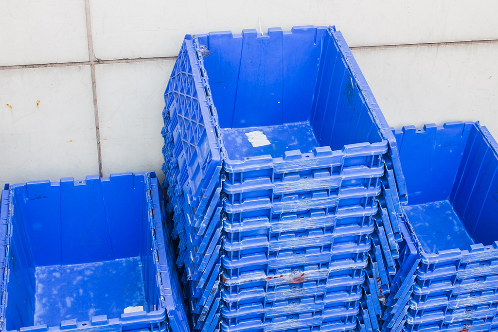 blue plastic moving containers
