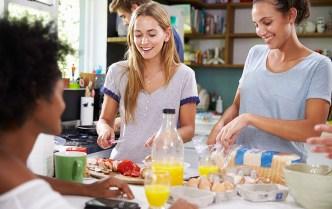 roommates making breakfast