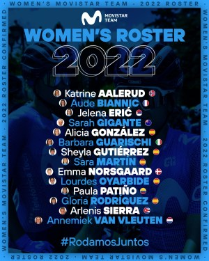 An even stronger female Movistar Team in 2022: 14 riders, with Arlenis Sierra