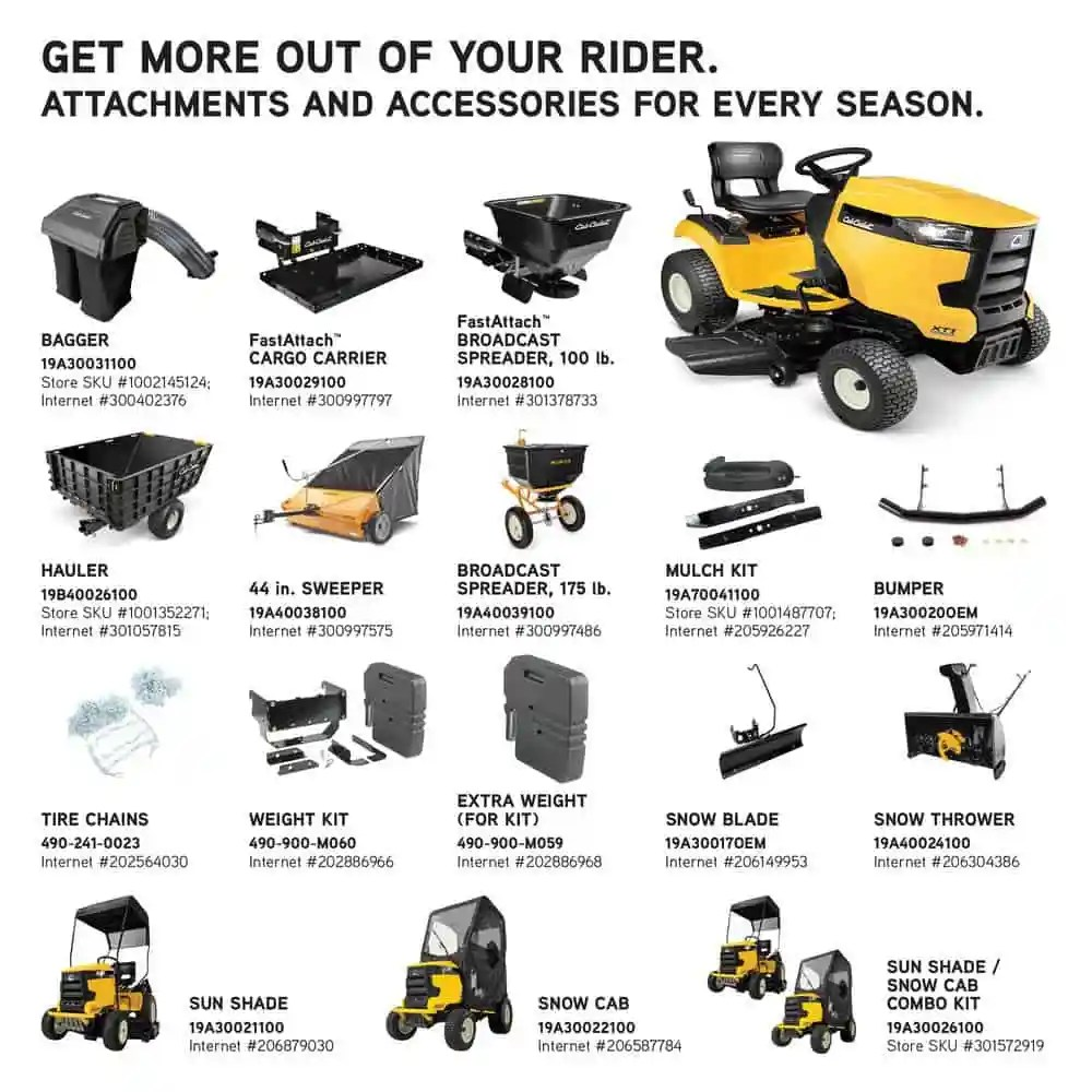 Cub Cadet Riding Mower Accessories