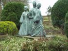 A statue of the sisters at Bronte Parsonage Museum, Haworth.