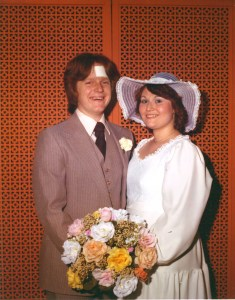 "Yes, that's a 4""x4"" white bandage covering my head wound in our wedding pictures."