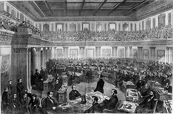 Theodore R. Davis' illustration of President Johnson's impeachment trial in the Senate, published in Harper's Weekly.