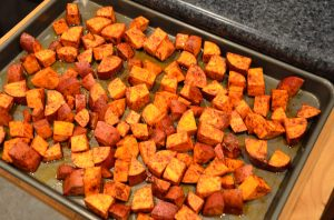 Baked & seasoned sweet potato