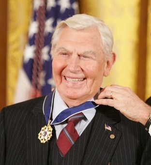 Andy Griffith, Tony Award-nominated and Emmy Award-nominated American actor, producer, writer, director and Grammy Award-winning southern gospel singer. Image taken as President George W. Bush presents him the Presidential Medal of Freedom.  White House photo by Paul Morse.