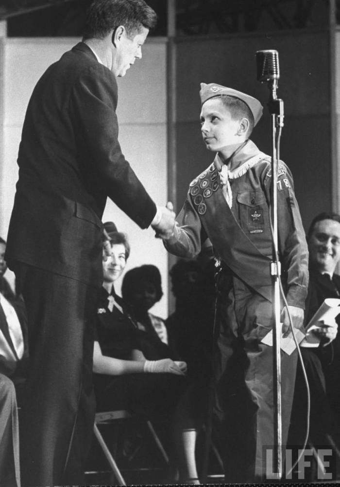 President Kennedy receiving Boy Scout greeting - December, 1962 (photo courtesy John Loengard, Life Magazine)