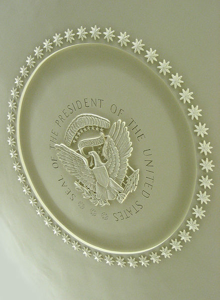 A picture of the Seal on the ceiling of the Oval Office.