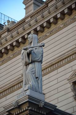 The father of Gothic architecture, Abbot Suger, keeps watch on Las Vegas Blvd.