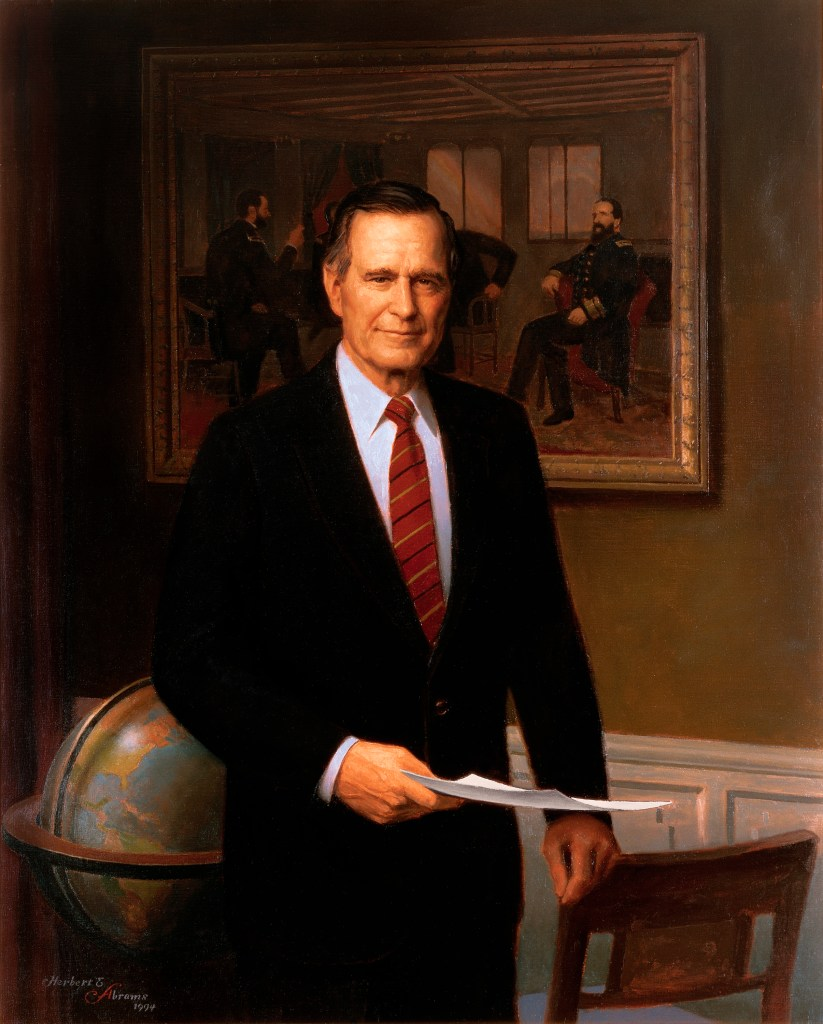 The painting in the background is The Peacemakers by George P. A. Healy.