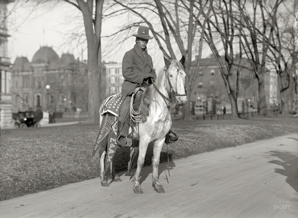 1915, Red Fox James at the White House. State, War & Navy Building at far left. Harris & Ewing Collection glass negative.