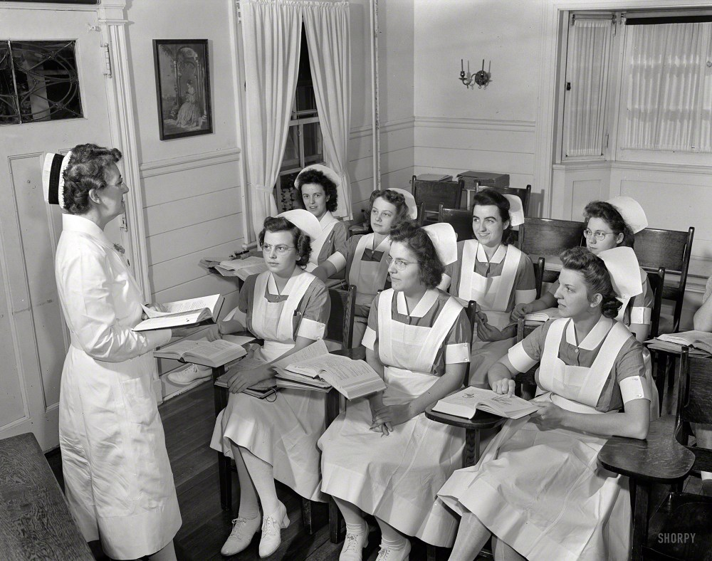 "Sept. 1942. Rochester, N.Y. ""Shirley Babcock at right in the front listening to a lecture with other student nurses."" Latest installment in the Babcock saga from the camera of Ralph Amdursky for the Office of War Information. Shorpy Historical Photos"