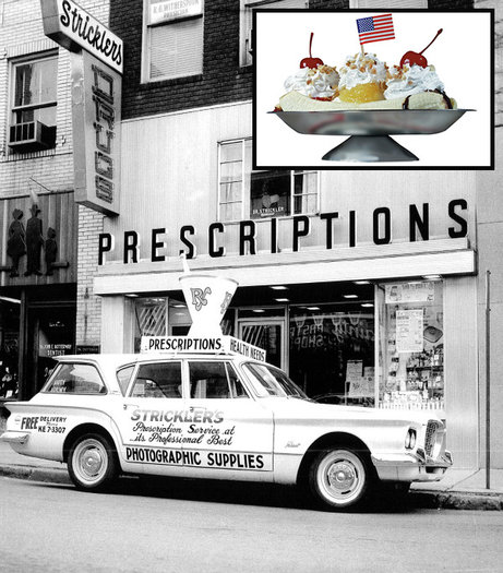 Strickler's drugstore in Latrobe, Pa., in 1955 is now defunct, but it was known for serving banana splits. The ice cream creation pictured above, served at Valley Dairy, is derived from the 1904 original that's said to have been invented in Latrobe. (Strickler's photo: Harry Frye / Latrobe Art Center; banana-split photo: Valley Dairy)
