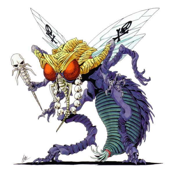Beelzebub as he appears in Shin Megami Tensei II. Artwork by Kazuma Kaneko.