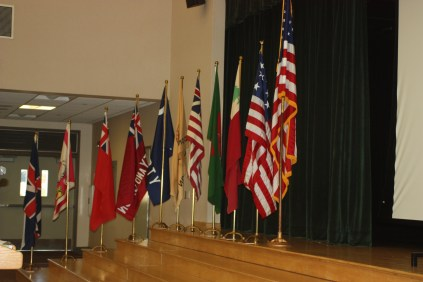 American flags make a great backdrop for the ceremony.