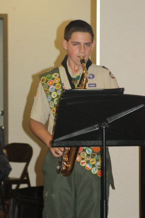 Having the high school jazz band perform with the Eagle in uniform was a memorable part of Daniel's ECOH.