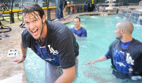 Clayton Kershaw, the best pitcher in baseball, enjoys a dip in the Diamondback pool.