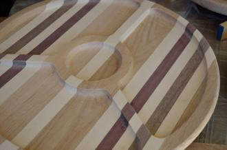 This platter is made from oak, maple, walnut and purpleheart.