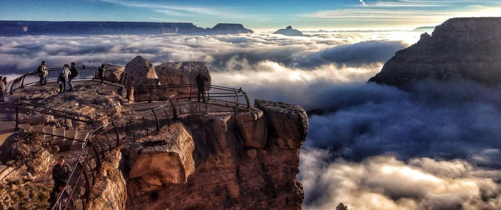 Grand Canyon National Park's Mather Point the morning of 11/29/13 with a  rare inversion. Rangers wait for years to see it. Word spread like wildfire and most ran to the rim to photograph it. NPS Photo by Erin Whittaker. Tweeted by the US Department of the Interior, 11/30/13.
