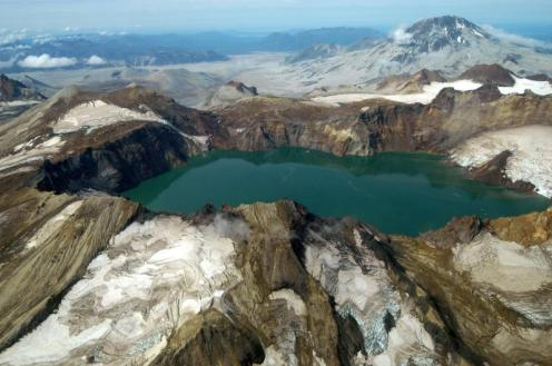 Peering inside Katmai Caldera, with Mt Griggs in background. From the National Park Service website.
