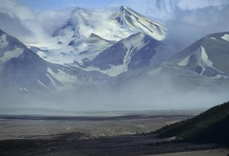 Mt Katmai sits at the head of the Valley of Ten Thousand Smokes. From the National Park Service website.