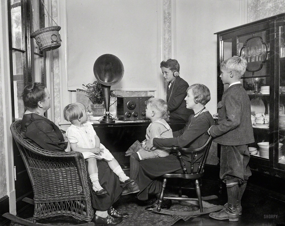 "Washington, D.C., circa 1925. ""Family group listening to radio."" A baseball game, maybe. The original caption label for this one has been lost. Shorpy Historical Photos."