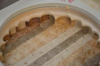 You begin to see the ultimate look of the bowl as it is routed out.