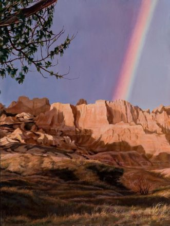 """We would like to congratulate former Badlands Artist in Residence Harold Nelson. This beautiful painting was his winning entry in the """"Paint the Parks"""" show presented by the Coutts Museum of Art. Harold takes great pleasure in sharing his experience and expertise with others through sculpture and painting. From the Park's Facebook page."""
