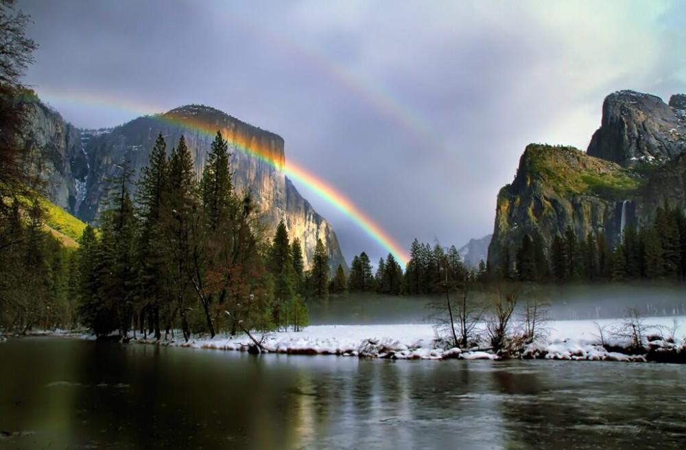 A Double Rainbow And The Half Dome