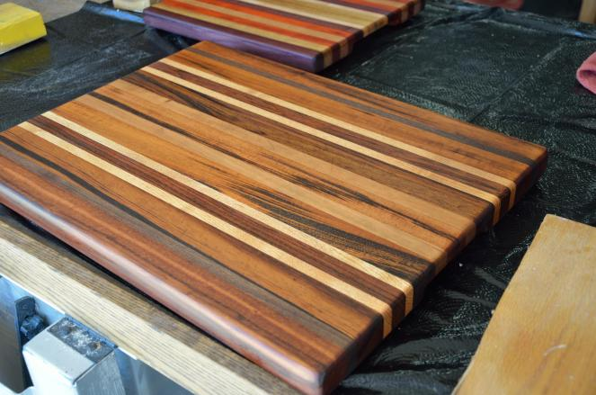 After 2 coats of oil, I was ready to do a final coat of Mrs. M's Handmade Cutting Board Topcoat.
