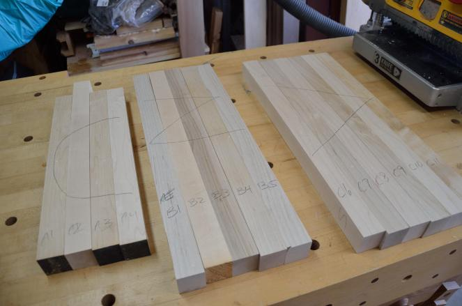 Hard maple boards, destined for glue up, and, eventually, a cutting board and a cheese board.