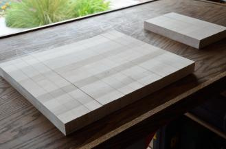 """Here's the cutting board after glue up # 1, and then slicing into 1-1/2"""" strips"""