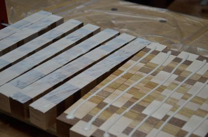 """The glue needs to have sufficient """"open time"""" so I can apply the glue to all 13 strips, and then still have time to spread the glue before placing the strips into final position."""
