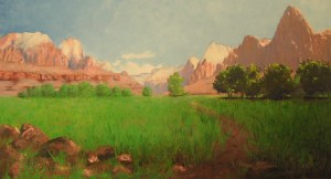 Painting of Zion Canyon by Frederick Dellenbaugh (1903)