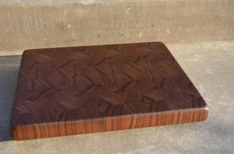 "# 56 Cutting Board, $85. 14-1/4"" x 11-3/4"" x 1-3/8"". End Grain. Black Walnut."