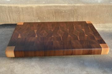 "# 53 Cutting Board, $85. 18"" x 11-3/4"" x 1-3/8"". End Grain. Hard Maple & Walnut."