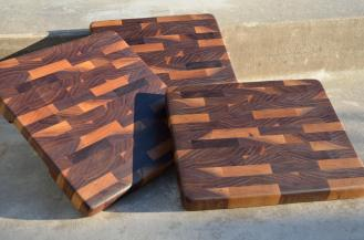 """Three pieces were made from some walnut I got from a contractor doing home restorations. There are 3 slightly different sizes. # 1 is 11-3/8"""" x 10-3/4"""" x 1-1/8"""". # 2 is 10-5/8"""" x 10-1/2"""" x 1-1/8"""". # 3 is 10-7/8"""" x 9-1/4"""" x 1-1/8"""". End Grain. Black Walnut."""