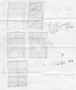 The approved design for the gate is # 4 ... along with the color and materials to be used. And my shopping list. All of my projects have humble beginnings. In this case, very humble.