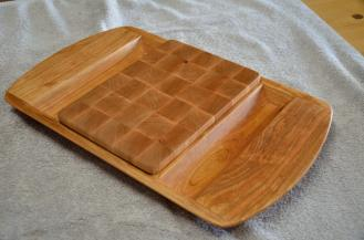 Cherry server, Hard Maple end grain cutting board insert.