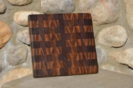 "# 27 Cutting Board, $50. Black walnut, end grain. 11-1/2"" x 11-1/2"" x 1""."