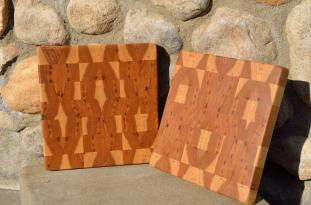"Hickory end grain. 10"" x 10"" x 1-1/8""."