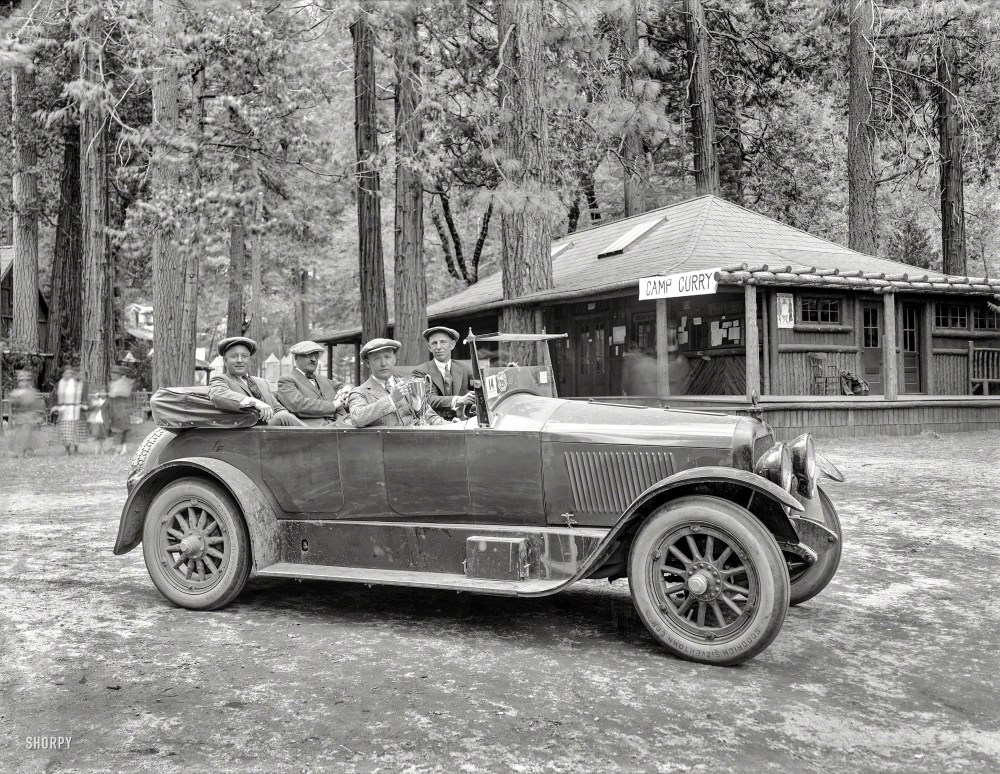 "May 1920. Yosemite National Park. ""Prize Cup, Fourth Annual AAA Economy Run, Los Angeles to Camp Curry."" An early test of fuel efficiency sponsored by Standard Oil of California. Originally from the Wyland Stanley collection of San Francisciana, acquired and scanned by Shorpy Historical Photos."