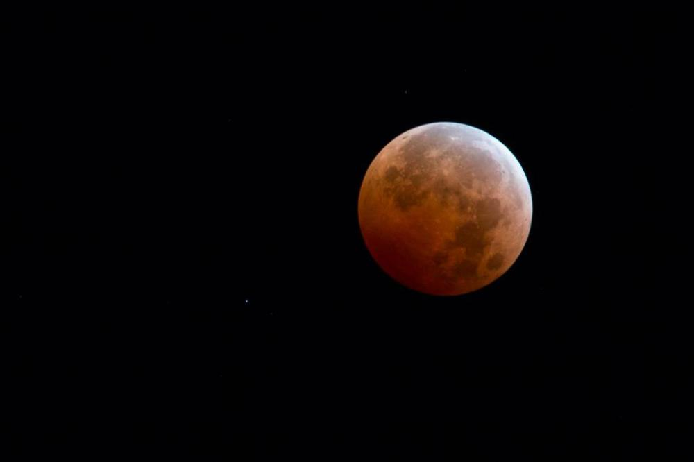 Yellowstone's bloodmoon. Tweeted by the US Department of the Interior, 10/8/14.