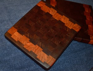 End grain. Black walnut and cherry. Two sizes, 12